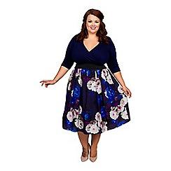 Scarlett & Jo - Blue floral print plus size wrap 2 in 1 dress