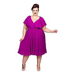 Scarlett & Jo - Purple plus size pleat skirt chiffon dress