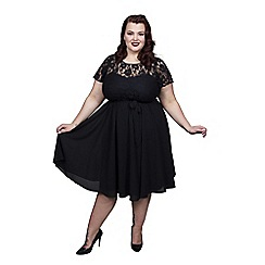 Scarlett & Jo - Black plus size lace top dress