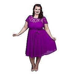 Scarlett & Jo - Purple plus size lace top dress