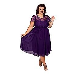 Scarlett & Jo - Purple plus size lace top chiffon dress