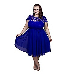 Scarlett & Jo - Blue plus size lace top dress