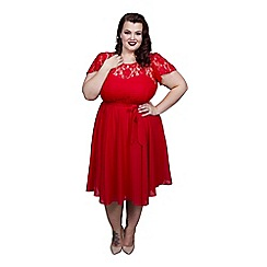 Scarlett & Jo - Red plus size lace top dress