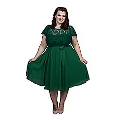 Scarlett & Jo - Green plus size lace top dress