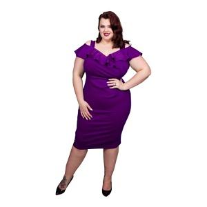 Scarlett & Jo Purple Plus Size Bardot Bodycon Dress