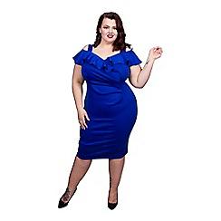 Scarlett & Jo - Blue plus size bardot bodycon dress