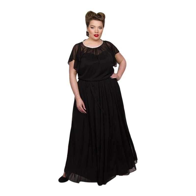 Scarlett and Jo - Black Chiffon Mesh Full Length Plus Size