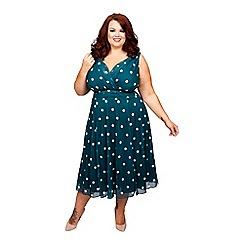 Scarlett & Jo - Green plus size Marilyn spot midi dress