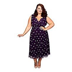 Scarlett & Jo - Purple plus size Marilyn spot midi dress