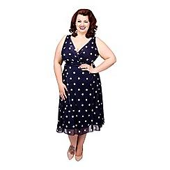 Scarlett & Jo - Navy plus size full skirt dress