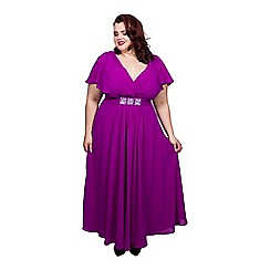 Scarlett & Jo - Purple plus size embroidered dress