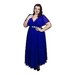 Scarlett & Jo - Blue plus size embroidered dress