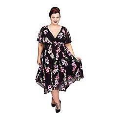 Scarlett & Jo - Floral print plus size hanky hem dress