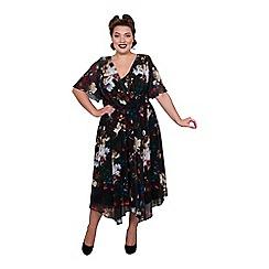 Scarlett & Jo - Multicoloured chiffon knee length plus size floral dress