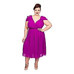 Scarlett & Jo - Purple plus size cold shoulder dress
