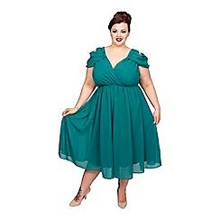 Scarlett & Jo - Green plus size cold shoulder dress
