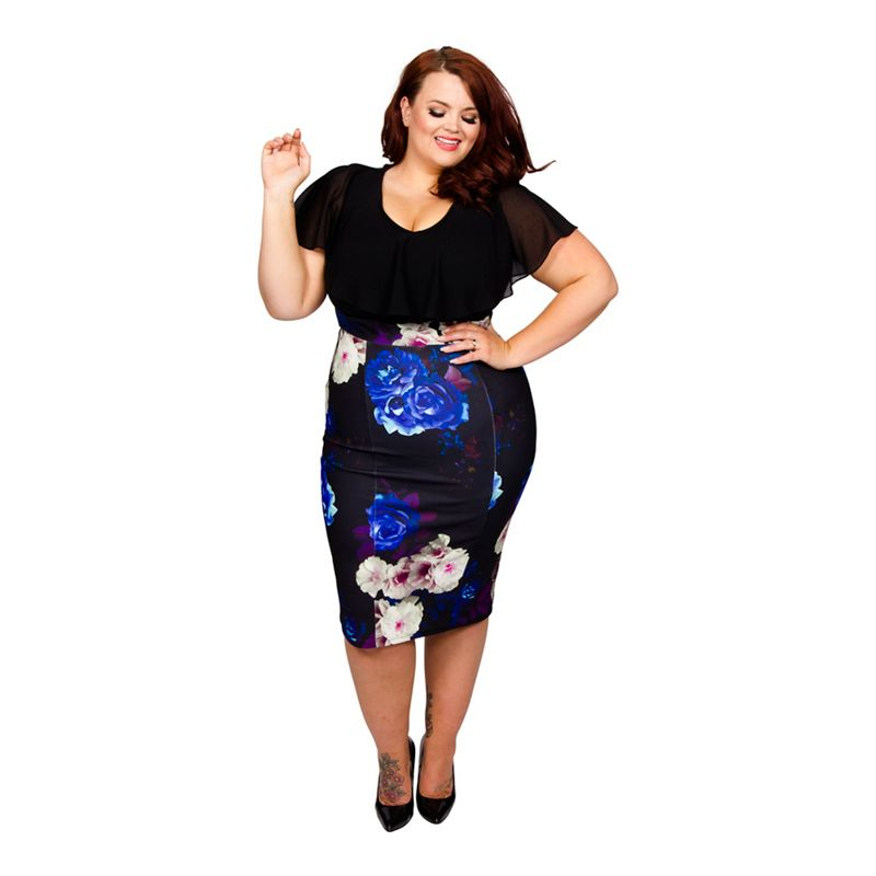 Scarlett and Jo - Blue Plus Size 2 In 1 Chiffon And Floral