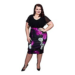 Scarlett & Jo - Black plus size 2 in 1 pencil dress