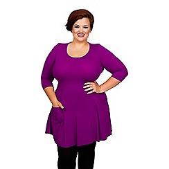 Scarlett & Jo - Purple plus size pocket fit and flare tunic