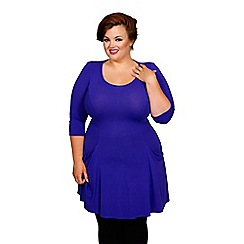 Scarlett & Jo - Blue plus size pocket fit and flare tunic