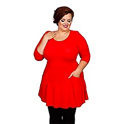 Scarlett & Jo - Red plus size pocket fit and flare tunic
