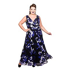Scarlett & Jo - Dark blue chiffon mesh full length plus size maxi dress