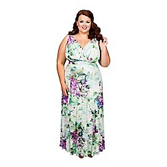 Scarlett & Jo - Floral print plus size Nancy Marilyn maxi dress