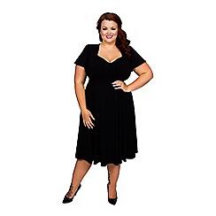 Scarlett & Jo - Black plus size gauged tab 40's dress