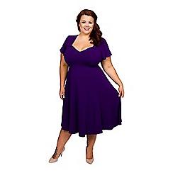 Scarlett & Jo - Purple plus size gauged tab 40's dress