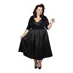 Scarlett & Jo - Black polyester midi length plus size velvet dress