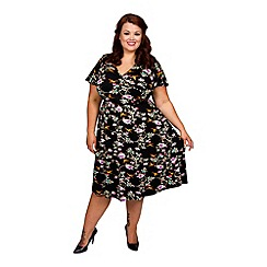 Scarlett & Jo - Floral plus size angel sleeves fit and flare dress
