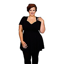 Scarlett & Jo - Black plus size fit and flare top