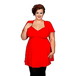 Scarlett & Jo - Red plus size fit and flare top