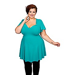 Scarlett & Jo - Turquoise plus size fit and flare top