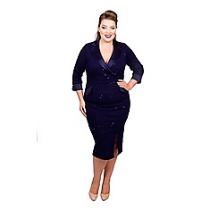 Scarlett & Jo - Mid blue boucle knee length plus size bodycon dress
