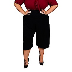 Scarlett & Jo - Black plus size wide leg midi trousers