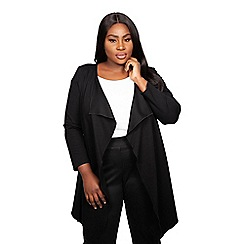 Scarlett & Jo - Black viscose knee length plus size long line waterfall jacket