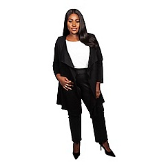 Scarlett & Jo - Black viscose thigh length plus size long line jacket