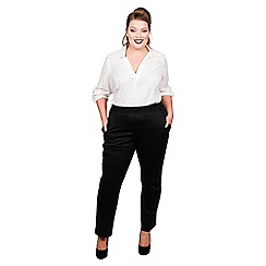 Scarlett & Jo - Black jersey full length plus size slim leg trousers