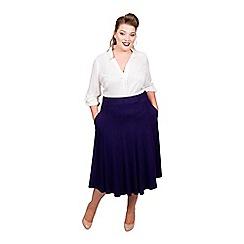 Scarlett & Jo - Mid blue viscose midi length plus size jersey skirt
