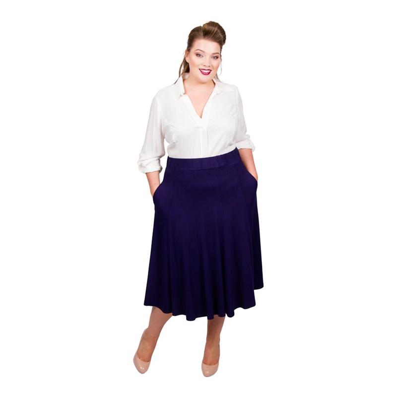 3c736bf13c5 Scarlett   Jo - Mid Blue Viscose Midi Length Plus Size Jersey Skirt ...
