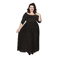 Scarlett & Jo - Black lurex full length plus size maxi dress