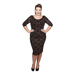 Scarlett & Jo - Bronze nylon knee length plus size bodycon dress