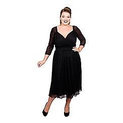 Scarlett & Jo - Black polyester midi length plus size little black dress