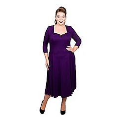 Scarlett & Jo - Dark purple viscose midi length plus size fit and flare dress