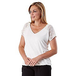 Celuu - Ivory 'Lilah' lace panel top