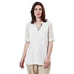 Celuu - Ivory 'Kate' beaded trim shirt