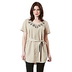 Celuu - Beige 'Josie' embroidered tencel tunic
