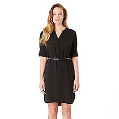 Celuu - Black 'Amber' laser cut belted shirt dress