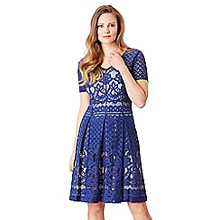 Celuu - Blue 'Rosie' lace skater dress